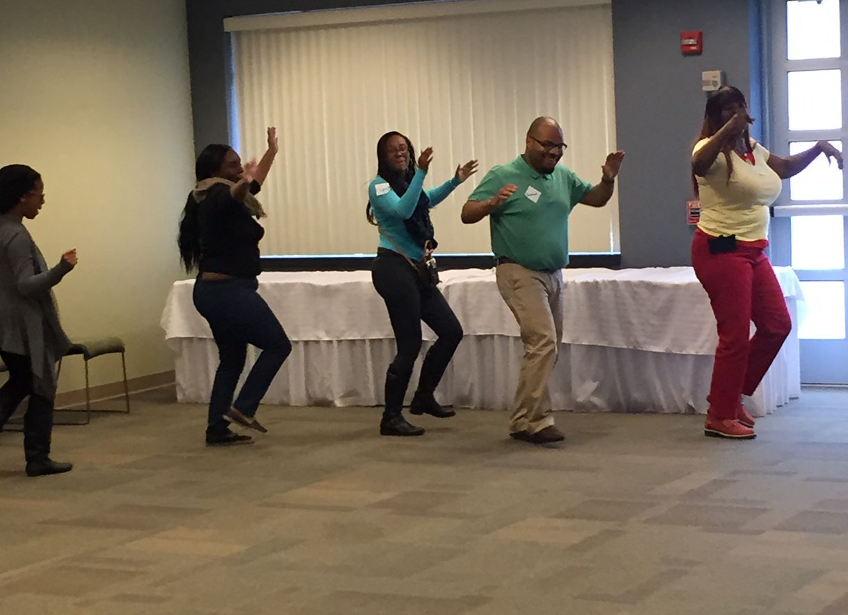 Ice breaker demonstration during bootcamp - creating a Conga line