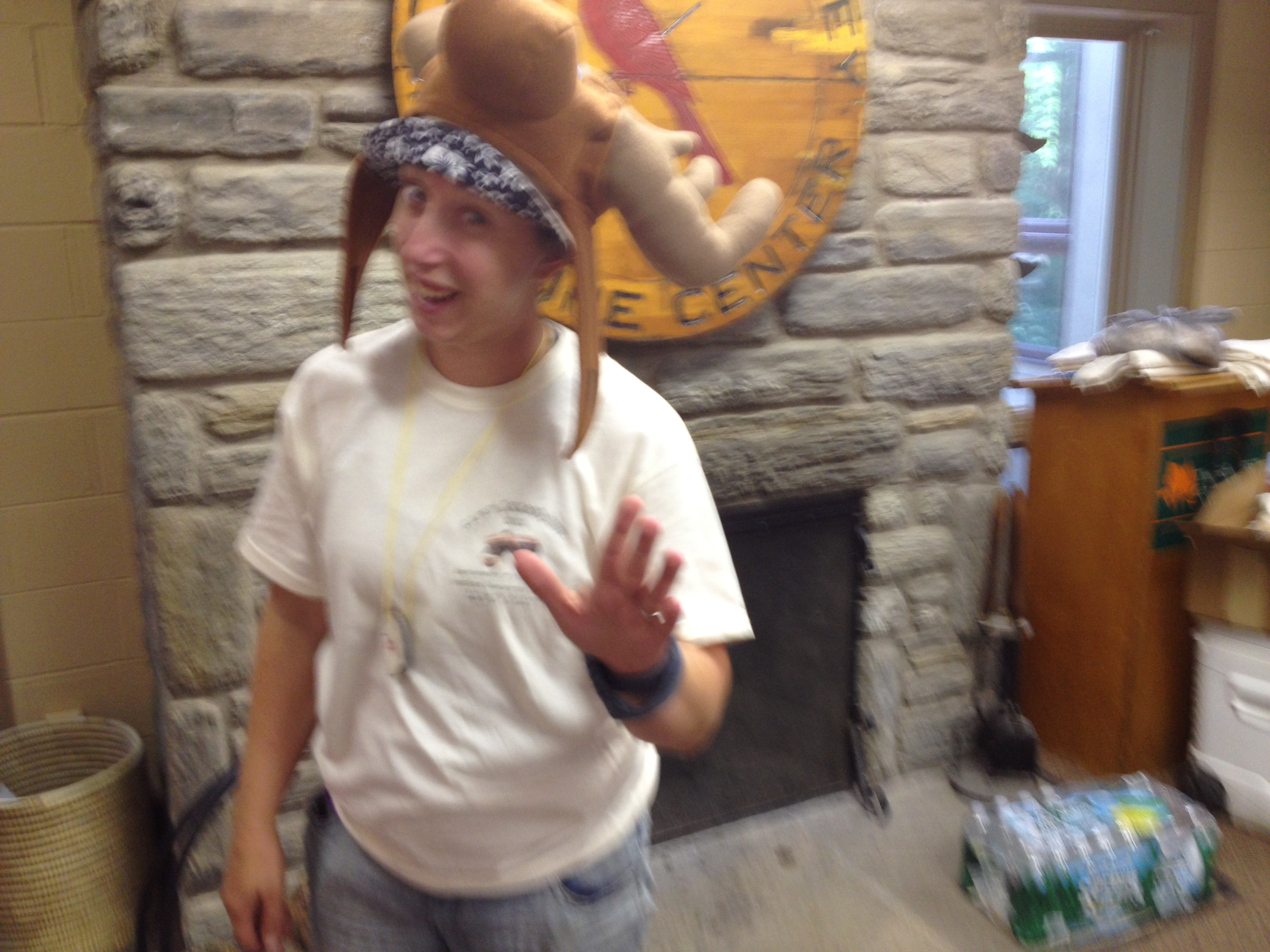 Getting into the spirit of the Employment Steering Committee retreat - Jess in a moose hat
