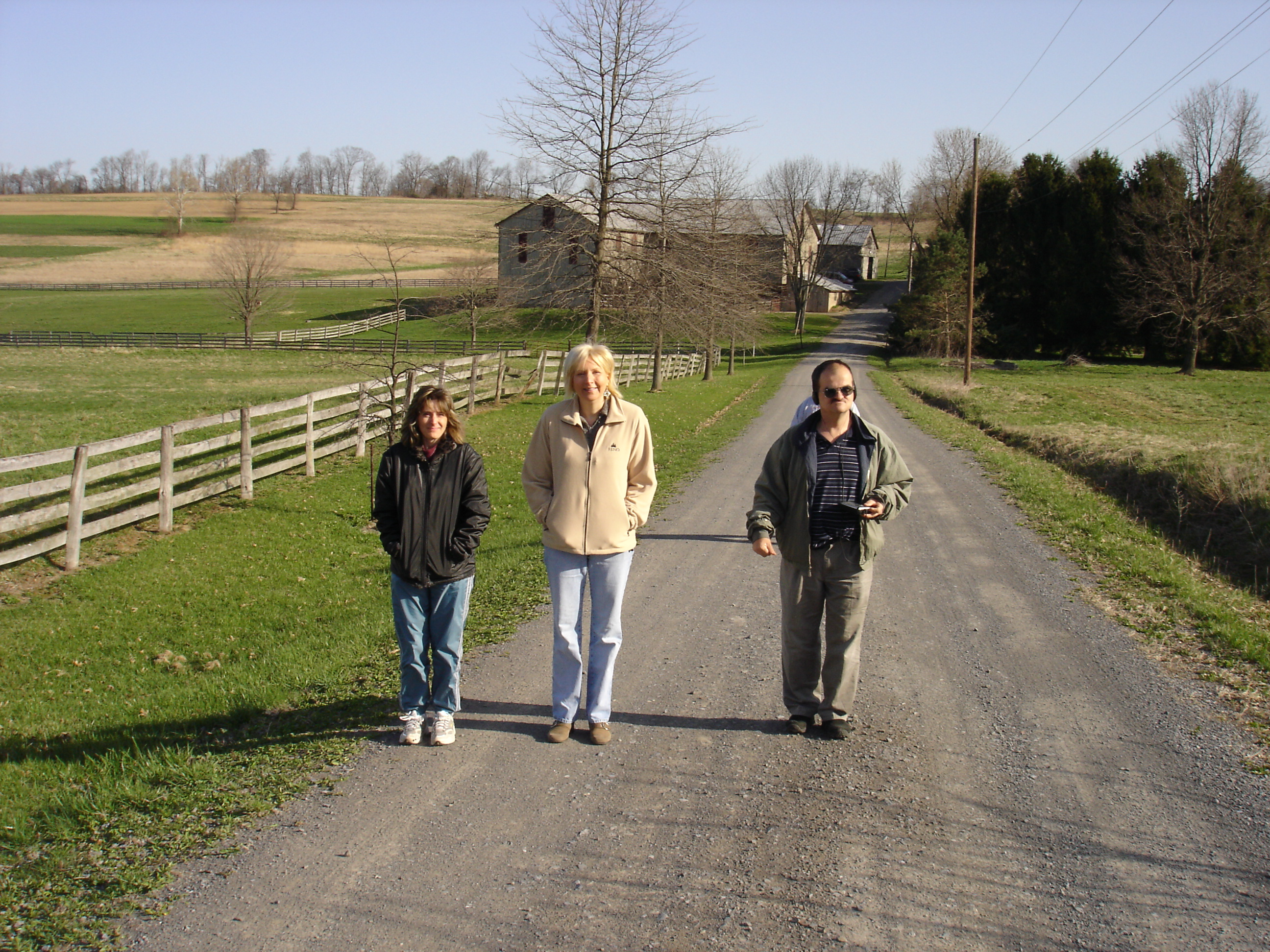 Michelle, Donna, & George take time for a walk during the retreat