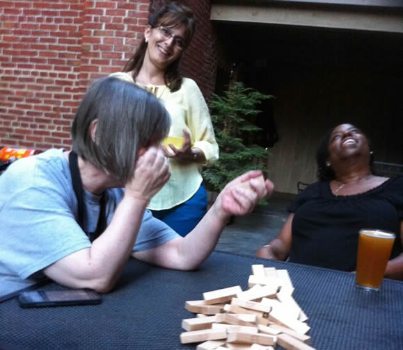 Suzanne, Michelle, & Shauna playing Jenga - Oops, try again