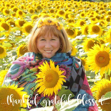 Maureen among the sunflowers