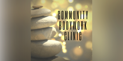"stack of stones with the words ""Community Bodywork Clinic"""