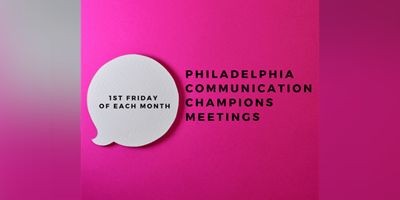 "Circle Text Bubble on Pink Background with the words ""Philadelphia Communication Champions Meetings"""