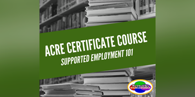 "stacks of books in library with the words ""ACRE Certificate Course Supported Employment 101"""