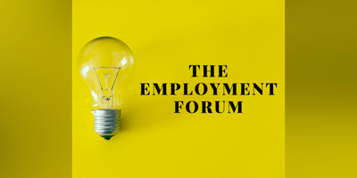 "light bulb on yellow background with the words""The Employment Forum"""