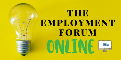 light bulb and monitor with text: the employment forum online