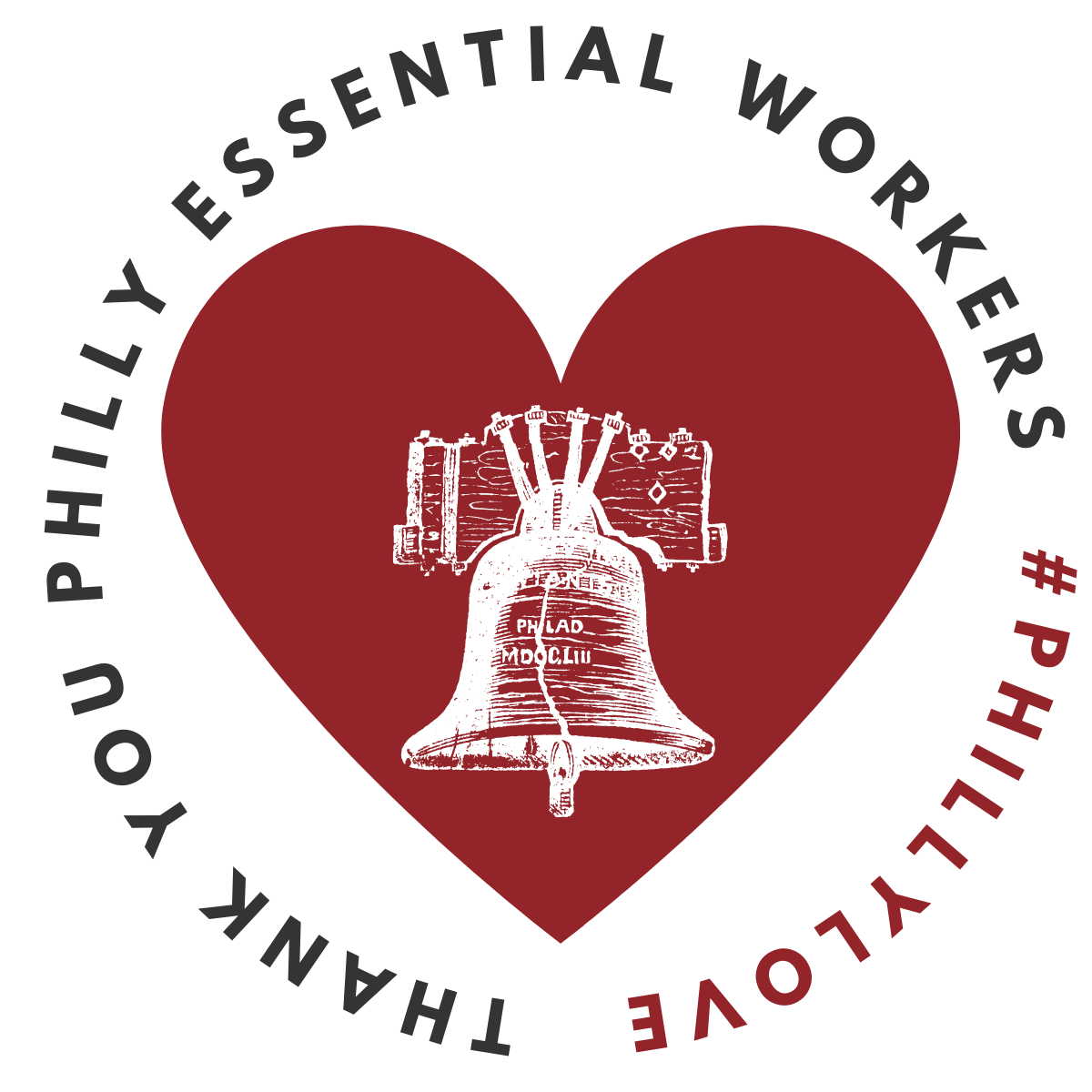 Philly Love logo: Thank You Philly Essential Workers #phillylove